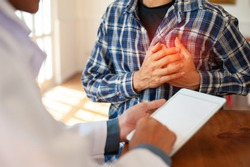 A male patient visits a doctor to treat chest pain. Concept of heart disease patients.