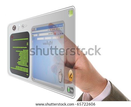A male's finger is searching and pointing at an internet website