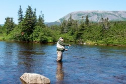 A male salmon angler stands in a river up to his waist with a long fishing rod wearing waders, a fly hat, and a vest. The background is trees and a riverbank. The blue water has a small ripple on top.