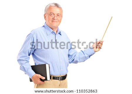 A male teacher holding a wand and book isolated on white background