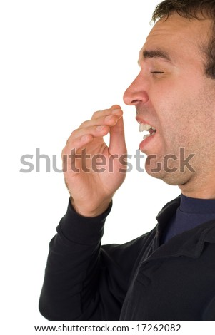 A man about to sneeze, isolated on a white background