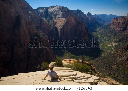 A man admires the beauty of Zion National Park, Utah