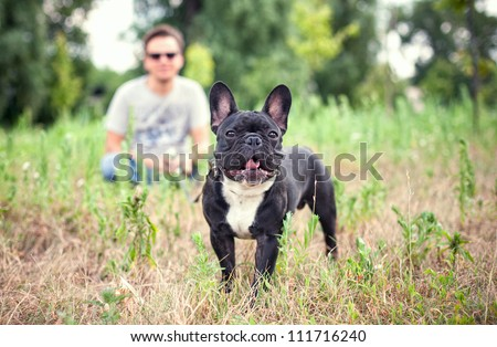 A man and a french bulldog in the park