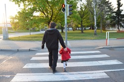 A man and a small child on a zebra crossing trespassing by crossing  the street on red flashing lights. Father is wearing black clothes, the girl has a red coat and striped stockings. Behind view.