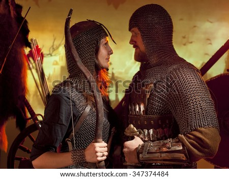 Stock Photo a man and a woman dressed as a medieval knight