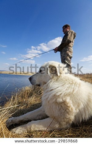 A man and his dog enjoying a day together at the lake