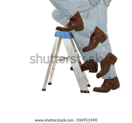 A man ascends a ladder isolated on white