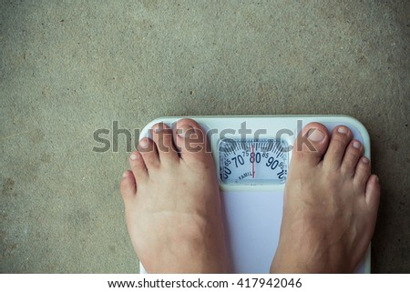 A man bare feet with weight scale.