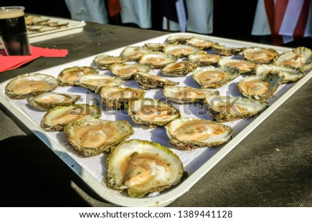 A man carries a tray of 30 Galway oysters at the International Oyster Festival.A man carries a tray of 30 Galway oysters at the International Oyster Festival. #1389441128