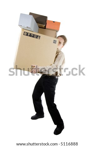 A man carrying different size boxes