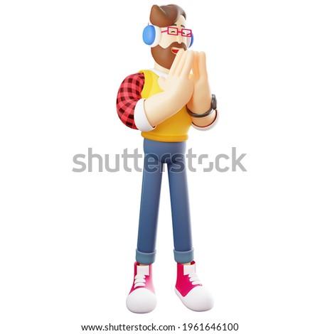 A Man Cartoon Design showing a begging pose Photo stock ©