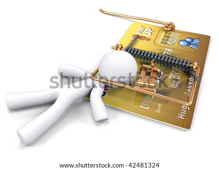 A man caught in a mouse trap made out of a credit card. Created to illustrate predatory lending and credit dangers.