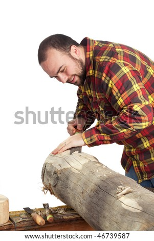 a man chiseling a log isolated on a white background