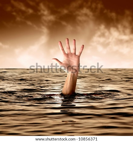 A man drowning in the sea