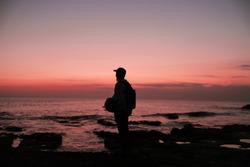 A Man Enjoy the Sunset