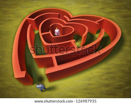 A man entering an heart shaped labyrinth. Digital illustration.
