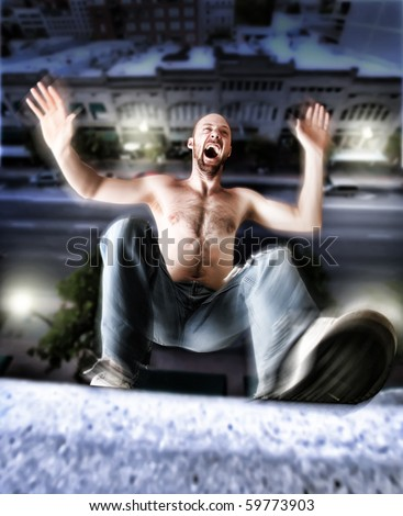 a man falling from a building