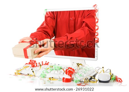 A man giving a present from inside computer's screen. Confetti scattered around the computer.