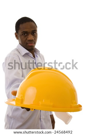 A man giving you a yellow helmet to protect your head