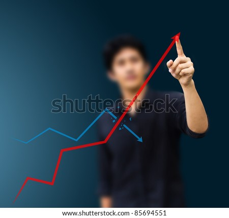 a man hand graph - stock photo