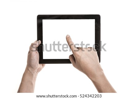 A man hand hold a mobile smart phone with black screen isolated white. #524342203
