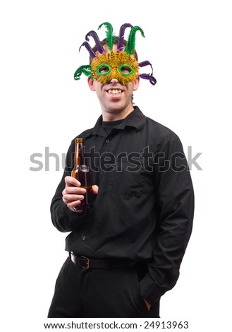 A man holding a beer bottle and wearing a feather mask, isolated against a white background