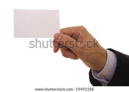 A man holding a blank business card