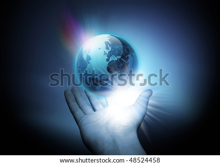 A man holding a connected world in his hand.