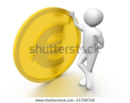 A man holding a large euro coin