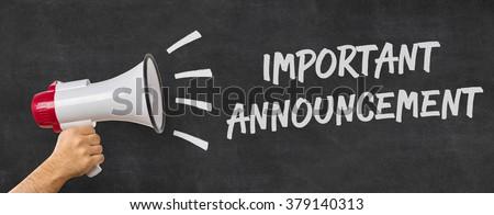 A man holding a megaphone - Important announcement Stock foto ©