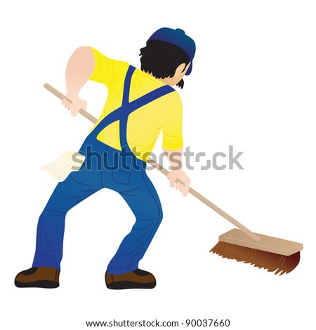 A man holding a mop and cleaning the floor