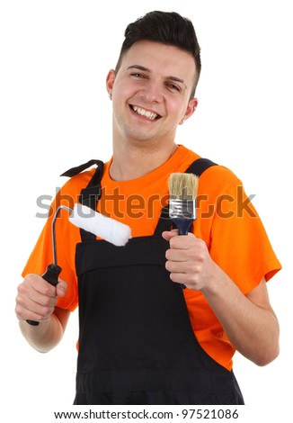 A man holding a paintbrush and roller, isolated on white