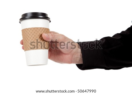 A man holding a paper coffee cup on a white background