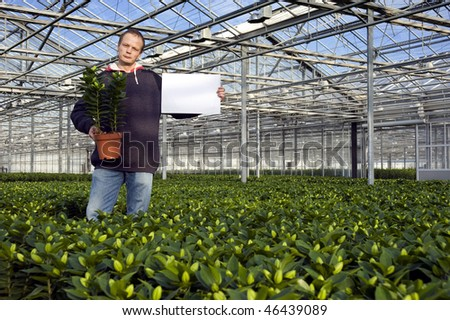 A man, holding a potted plant in one hand, and a blank sign for your message in the other in a huge glasshouse