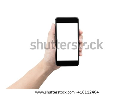 A man holding a smartphone with white blank screen to montage your application isolated on white background.