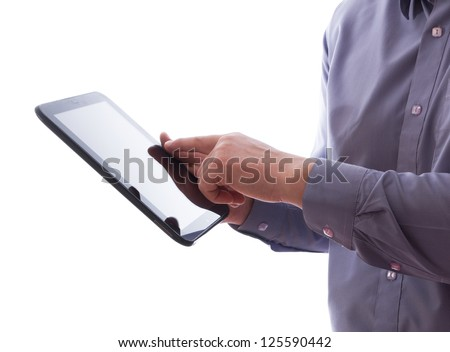 A man holding a tablet pc