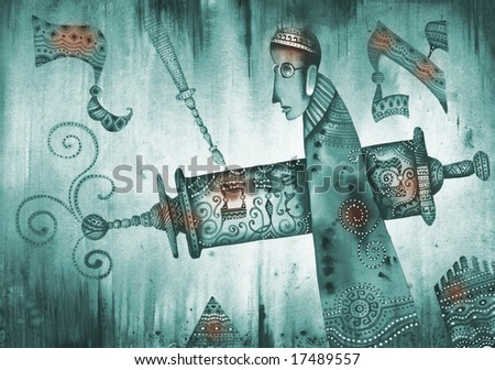 A Man Holding A Torah Scroll. Illustration by Eugene Ivanov.