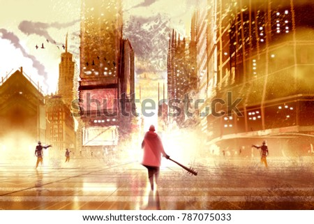 a man holding club weapon and walking agains many zombies in abandoned city, digital illustration painting.