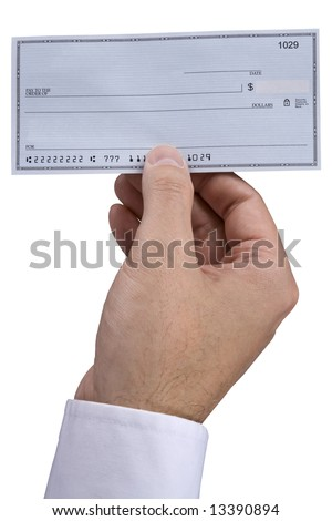 A man holding holding a blank check.