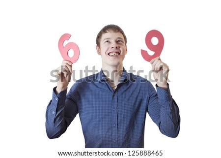 A man holds in his hands the numbers.