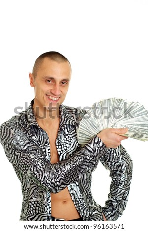 A man holds the money on a light background