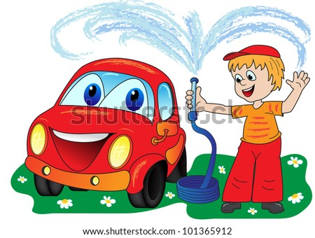 A man in a bright dress washes smiling automobile from a hose
