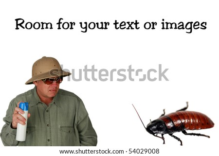 a man in a pith helmet sprays Bug Spray towards a giant cockroach isolated on white with room for your text or images