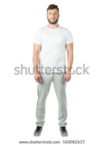 A man in a sports suit on a white background. Healthy lifestyle. Sports nutrition. Mock up #560082637