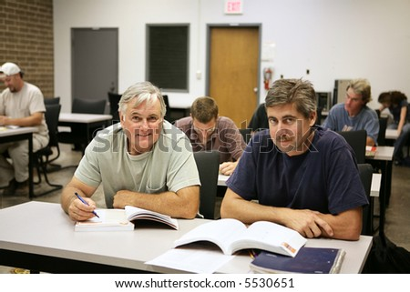 A man in his fifties back at school for job training.