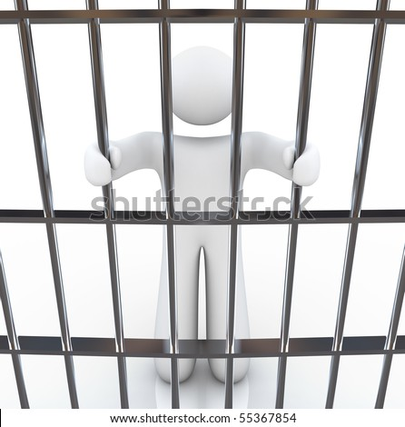 A man in jail holds the bars before him