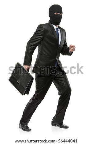 A man in robbery mask carrying a briefcase isolated on white background