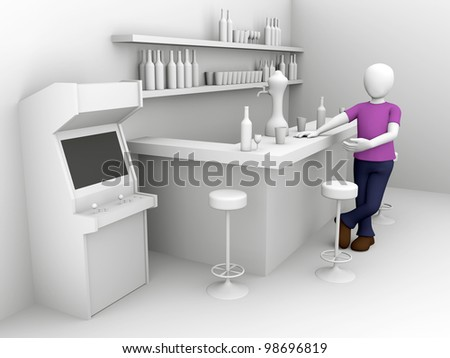 A man in the bar. Men's leisure concept. 3d Illustration