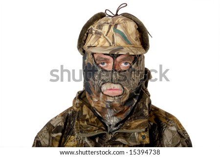 A man in the  hunting camouflage