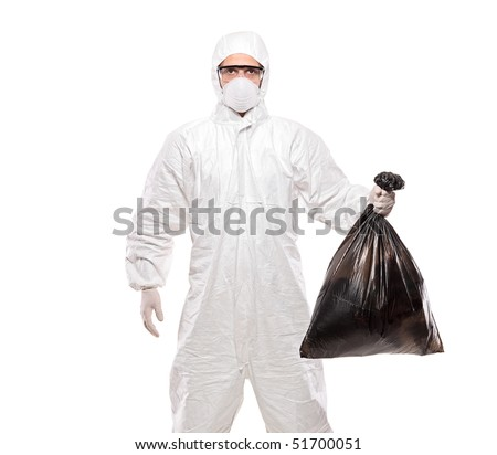 A man in uniform holding a black garbage bag isolated on white background